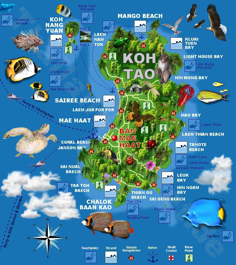 Карта острова Пханган