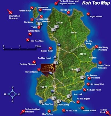 Карта острова Ко Тао